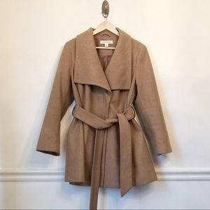 PURE ENERGY | Camel Wool Shawl Wide Collar Coat 1X
